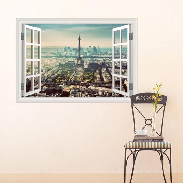 Vinil de parede janela cidade Paris