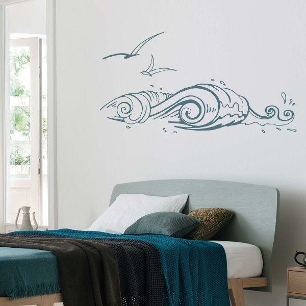 Adesivo ondas com gaivotas 1