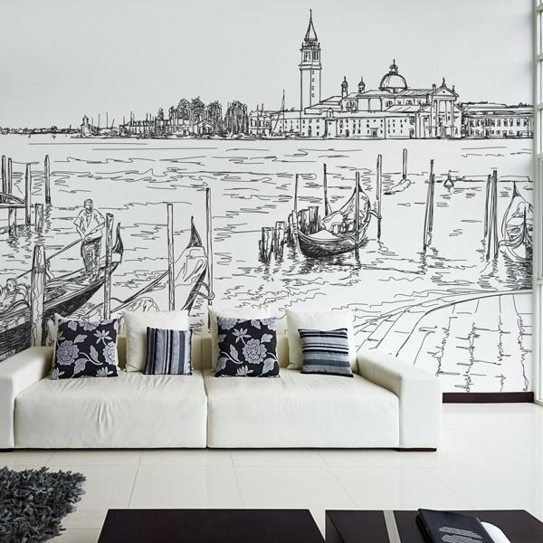 Mural ilustração de Veneza