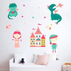 Autocolantes princesas e dragoes