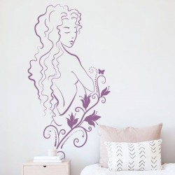 Adesivo de parede mulher flor