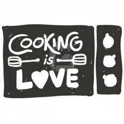 Vinil decorativo de frases cooking is love