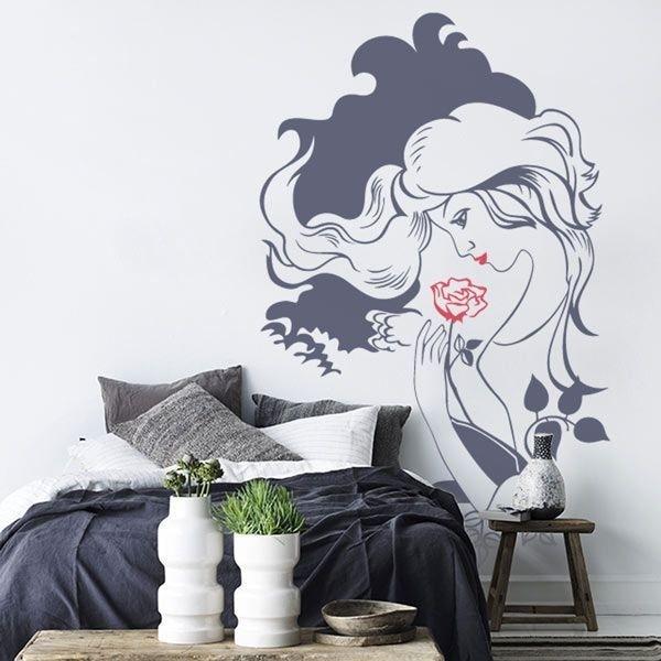 Vinil de parede mulher flor 1