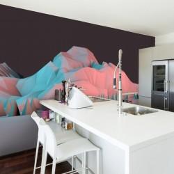 Vinil de parede montanhas 3D