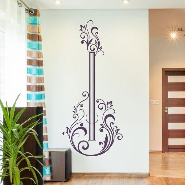 Vinil decorativo guitarra floral