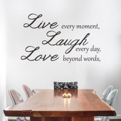 Vinil de frases live, laugh, love