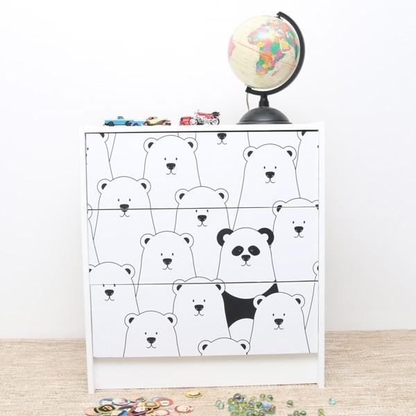 Vinil para cómoda ikea pandas 2