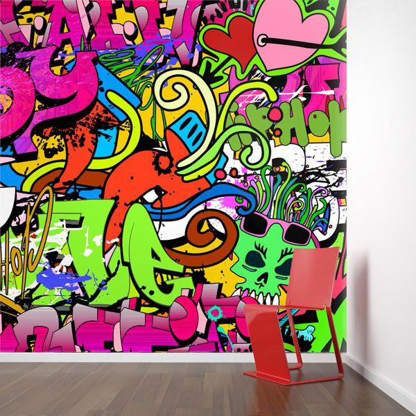 Foto mural grafiti corações