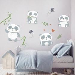 Vinil infantil pequenos pandas