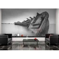Foto mural barco preto e branco