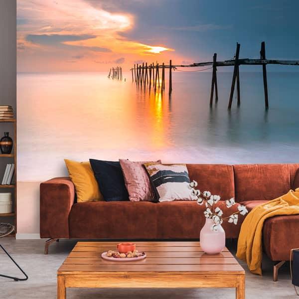 Foto mural pôr do sol na praia
