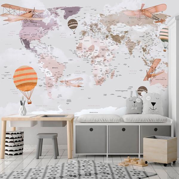 Foto mural mapa mundo ilustrativo