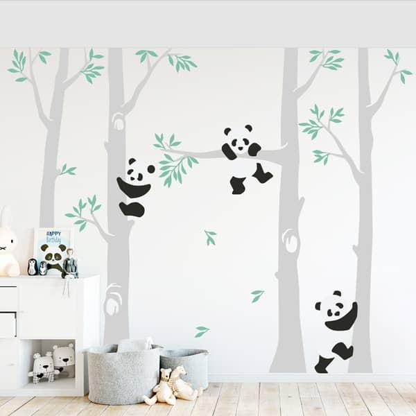 Autocolante infantil de pandas bebés