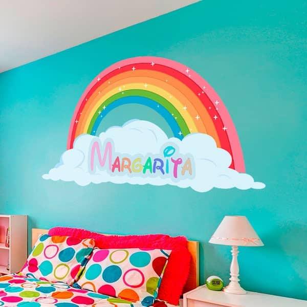 Adesivo infantil arco-íris com nome