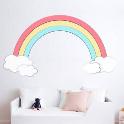 Autocolante arco-íris com nuvens