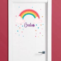 Adesivo arco-íris porta com nome