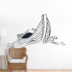 Autocolante de parede barco...
