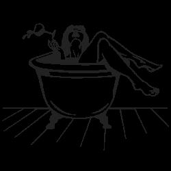 Vinil decorativo rapariga no banho