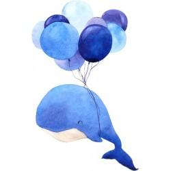 Autocolante infantil baleia e balões