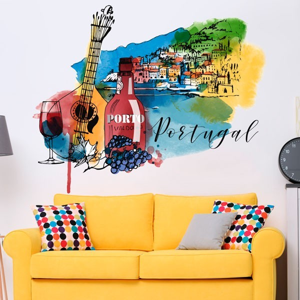 Adesivo de parede aquarela Portugal
