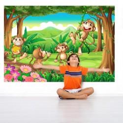 Mural infantil macacos no...