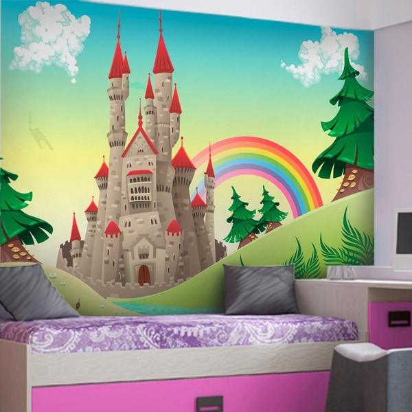 Mural infantil primavera no castelo