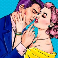 Autocolante pop art apaixonados