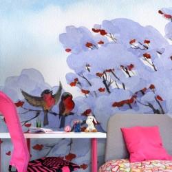 Mural pássaros na neve