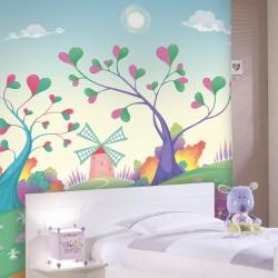 Mural árvores com corações