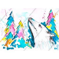 Vinil pintado lobo aguarela