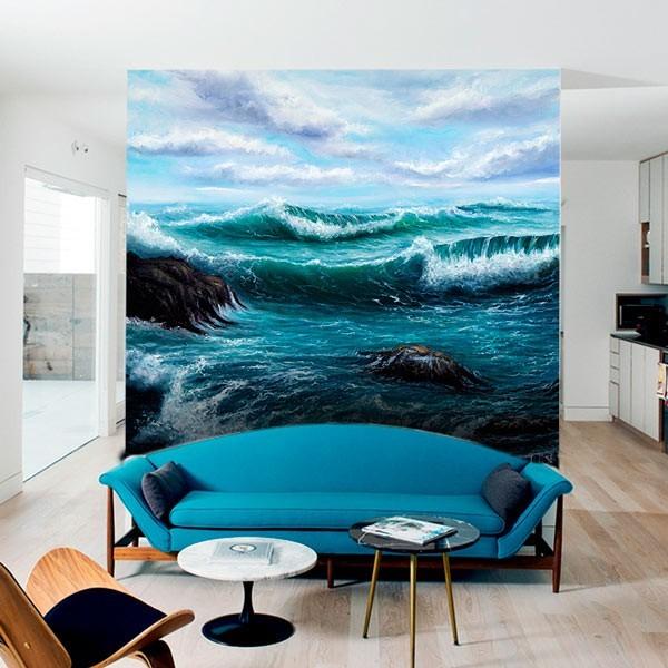 Foto mural mar em aquarela