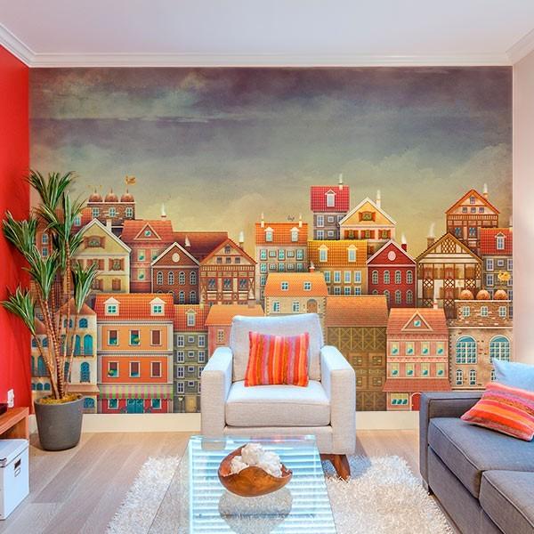Papel de parede casas coloridas