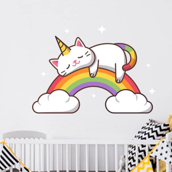Autocolante infantil gato e arco-íris