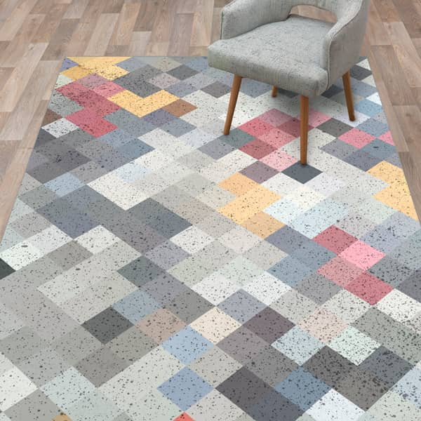 Tapete vinílico quadrados coloridos
