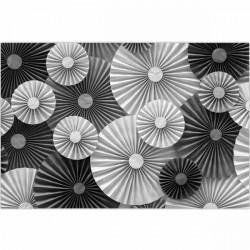 Tapete vinílico círculos preto e branco