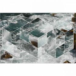 Tapete vinílico ondas e formas geométricas