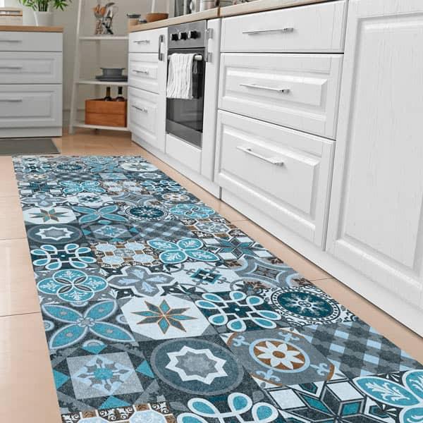 Tapete vinílico azulejos azuis