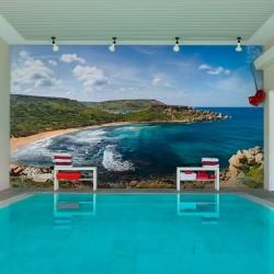 Papel de parede praia azul