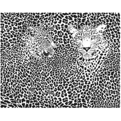 Mural de parede casal de leopardos