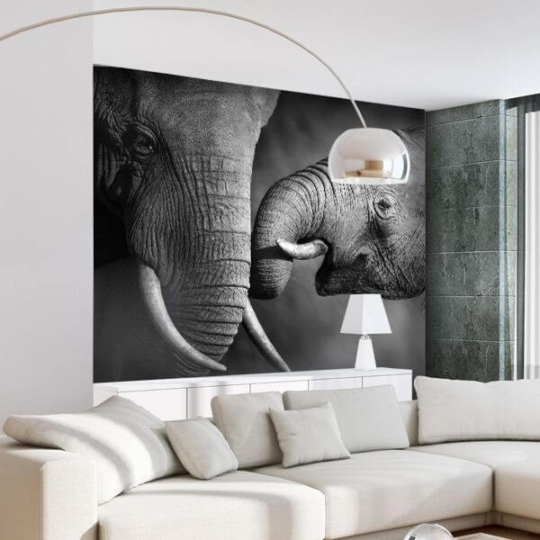 Black and white room decoration with animal wallpaper