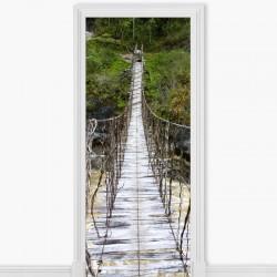 Vinil porta ponte de madeira
