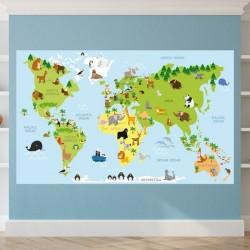 Papel de parede mapa com animais