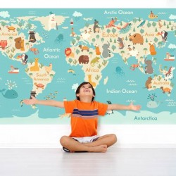 Foto mural mapa mundo infantil