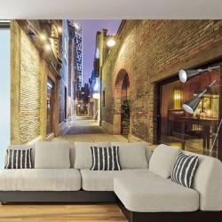 Foto mural rua com tijolo